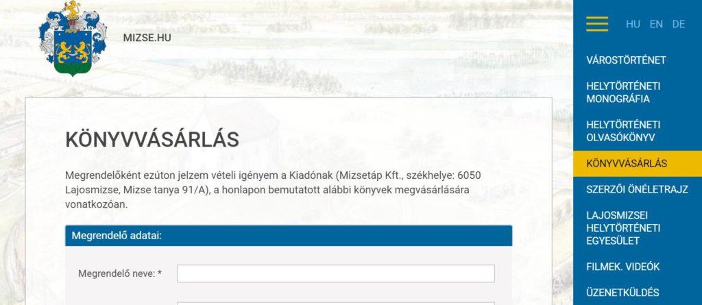 erődök hivatalos honlapján bemutató számla